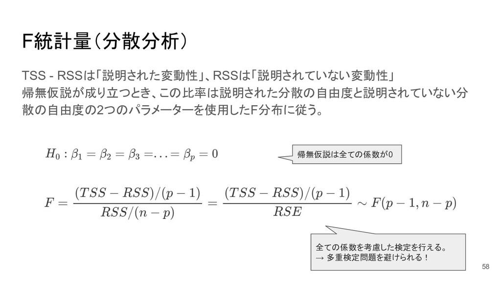 F統計量(分散分析) TSS - RSSは「説明された変動性」、RSSは「説明されていない変動...
