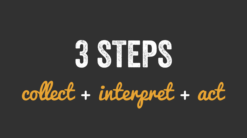 3 STEPS collect + interpret + act