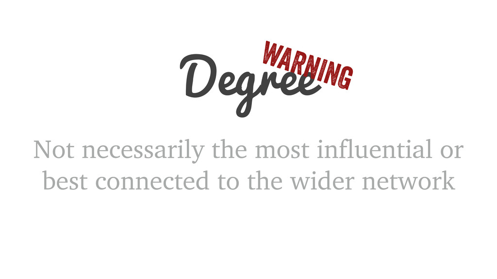 Degree WARNING Not necessarily the most influen...