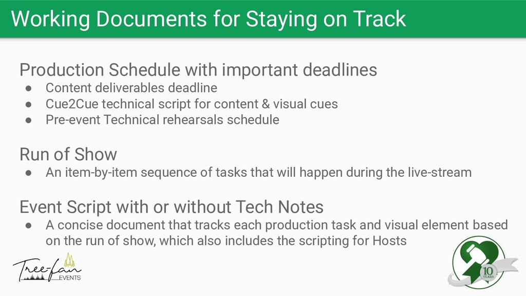 Working Documents for Staying on Track Producti...