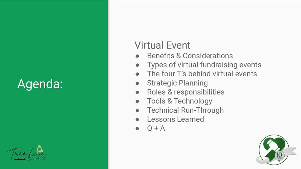 Agenda: Virtual Event ● Benefits & Consideration...