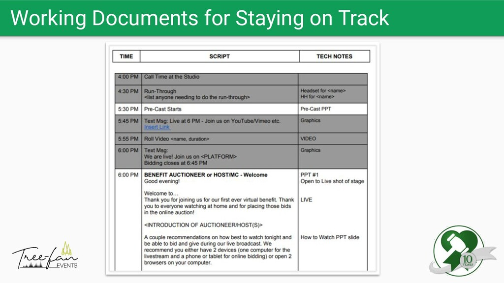 Working Documents for Staying on Track