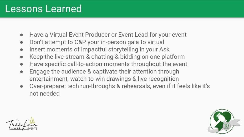 Lessons Learned ● Have a Virtual Event Producer...