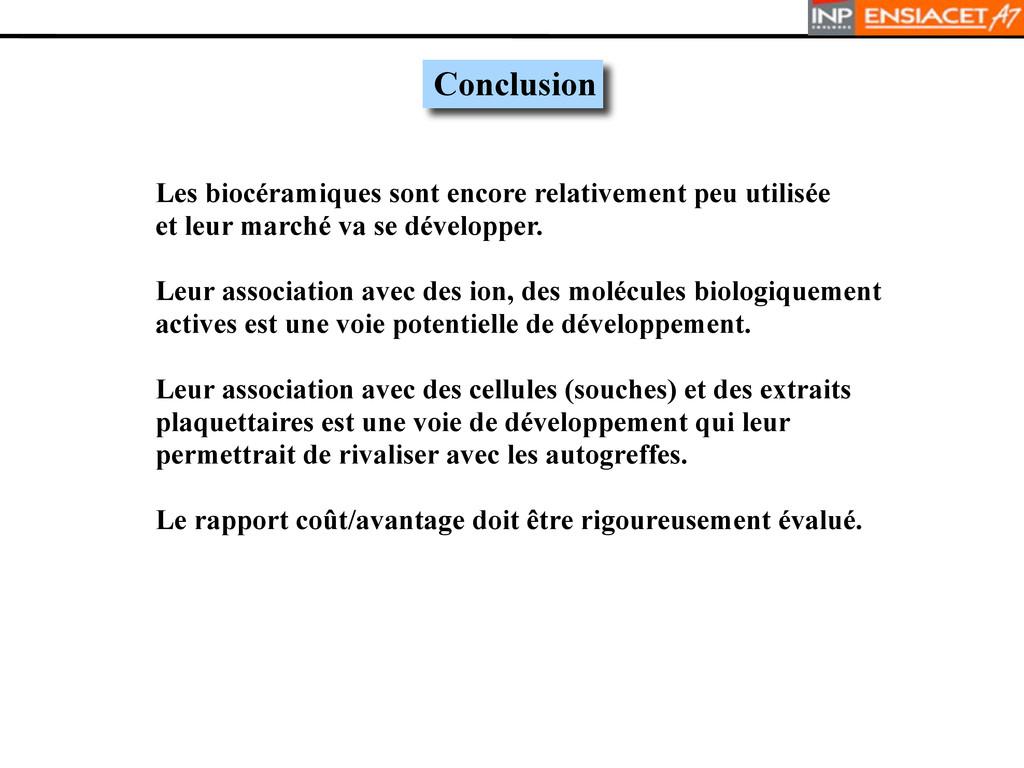 Conclusion Les biocéramiques sont encore relati...