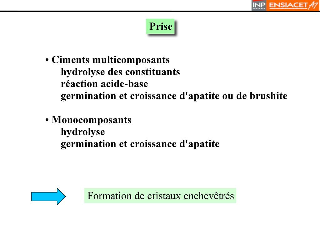 Prise • Ciments multicomposants hydrolyse des c...