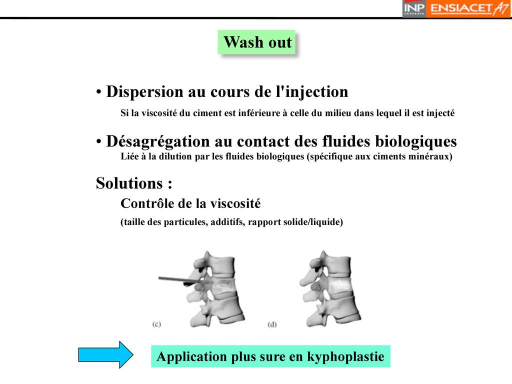 Wash out • Dispersion au cours de l'injection S...