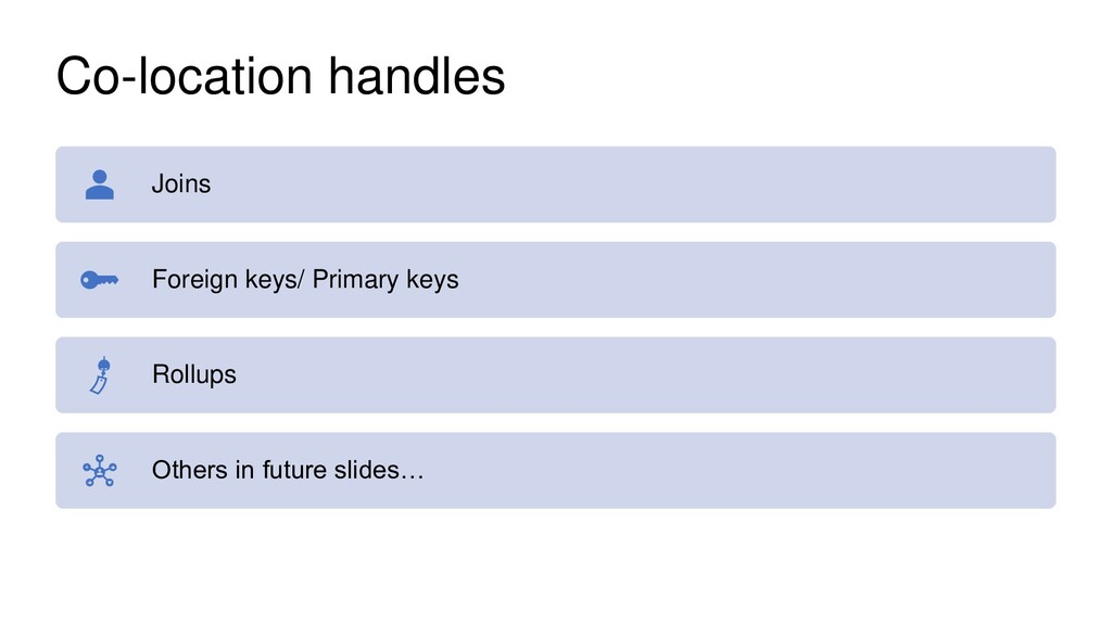 Co-location handles Joins Foreign keys/ Primary...