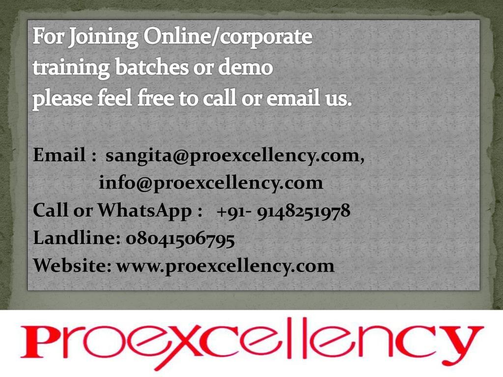 Email : sangita@proexcellency.com, info@proexce...
