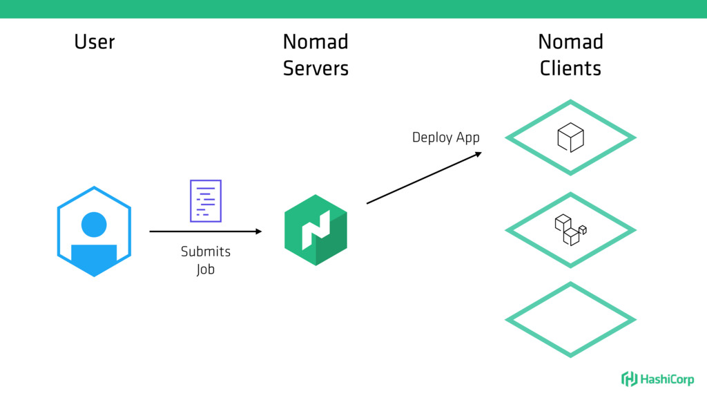User Nomad Servers Submits Job Nomad Clients De...
