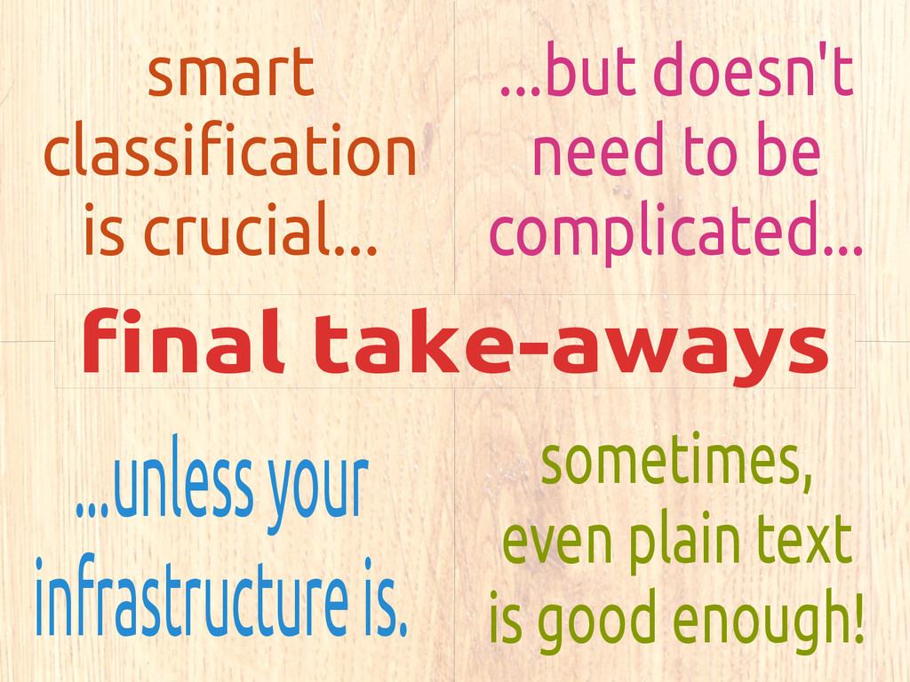 final take-aways smart classification is crucia...