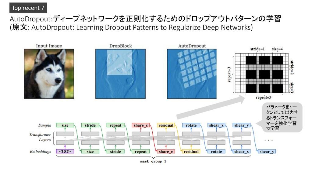 AutoDropout:ディープネットワークを正則化するためのドロップアウトパターンの学習 (...