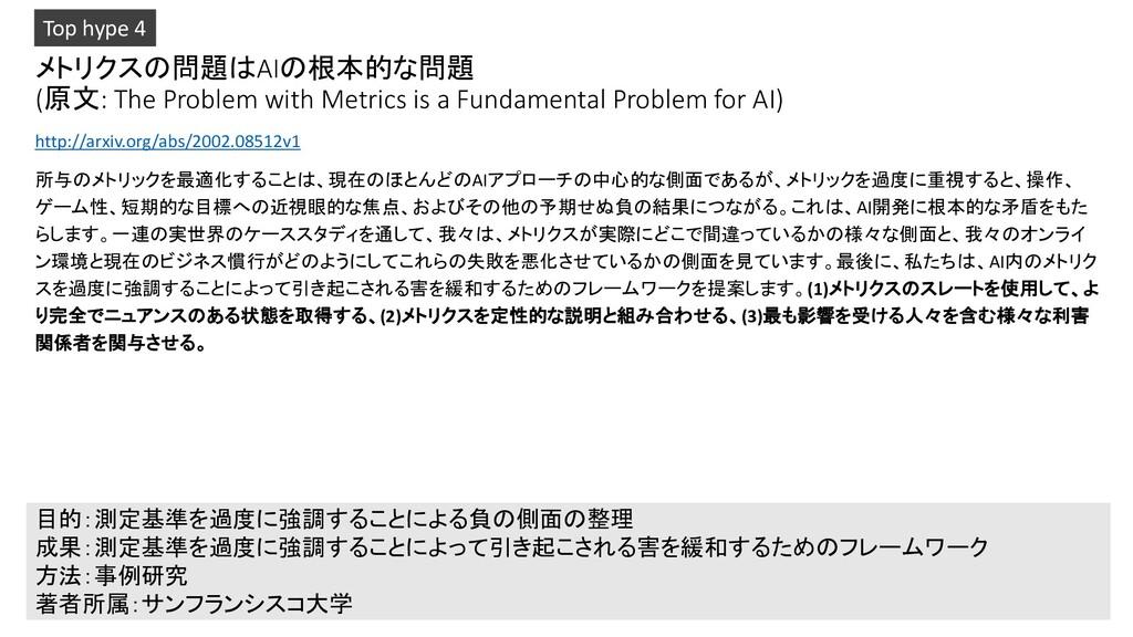 メトリクスの問題はAIの根本的な問題 (原文: The Problem with Metric...