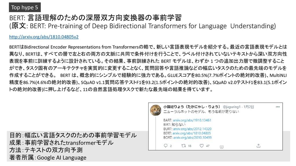BERT: 言語理解のための深層双方向変換器の事前学習 (原文: BERT: Pre-trai...