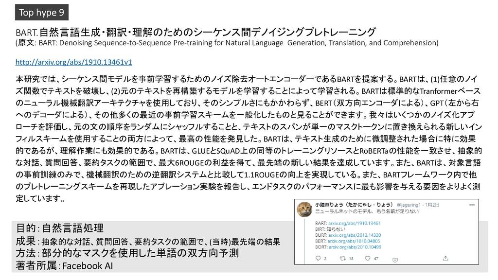 BART.自然言語生成・翻訳・理解のためのシーケンス間デノイジングプレトレーニング (原文: ...