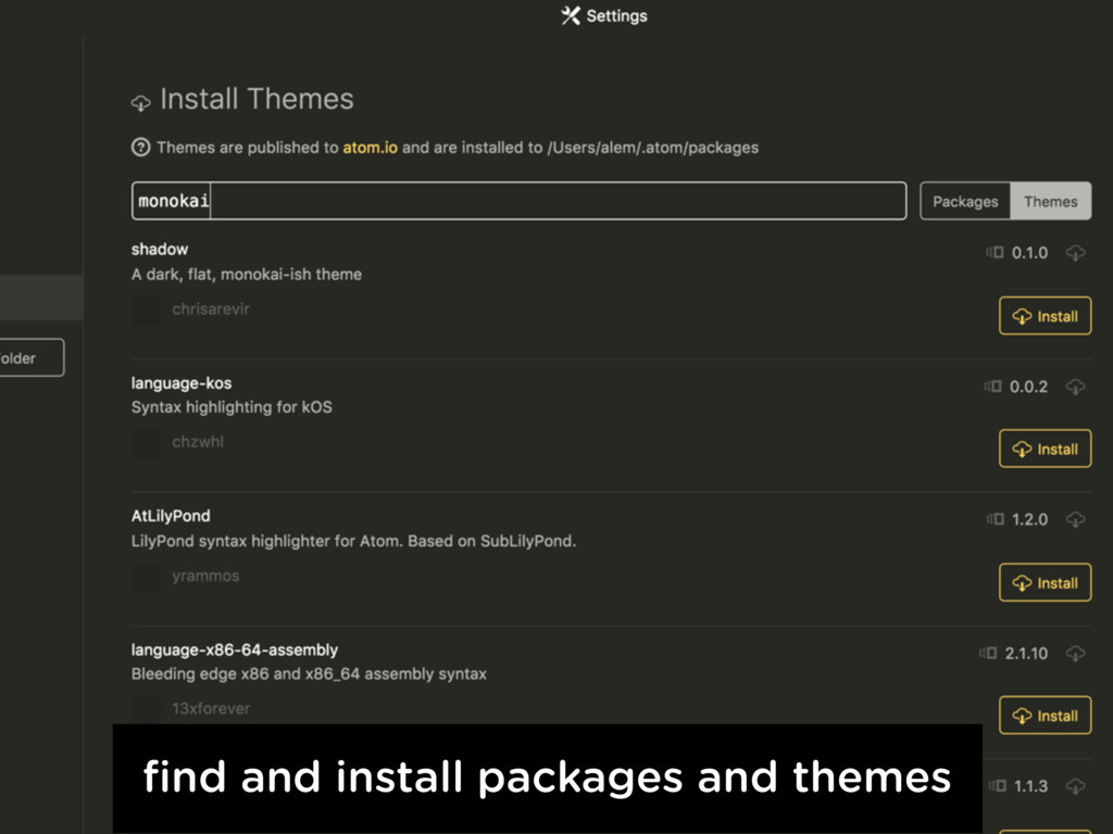 find and install packages and themes