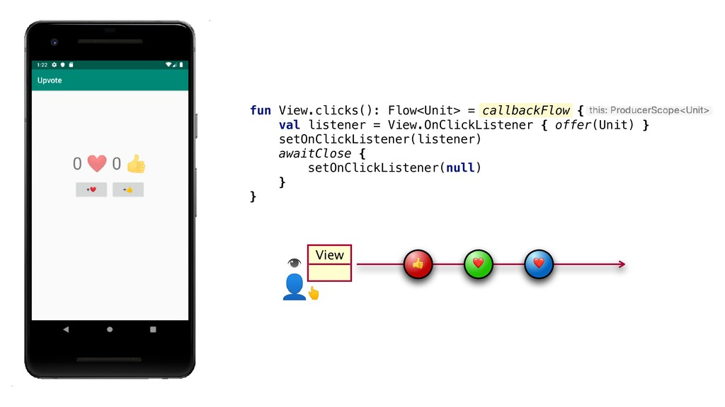 View  ❤ ❤ fun View.clicks(): Flow<Unit> = callb...