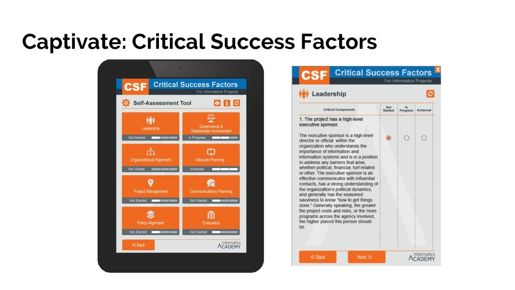 Captivate: Critical Success Factors