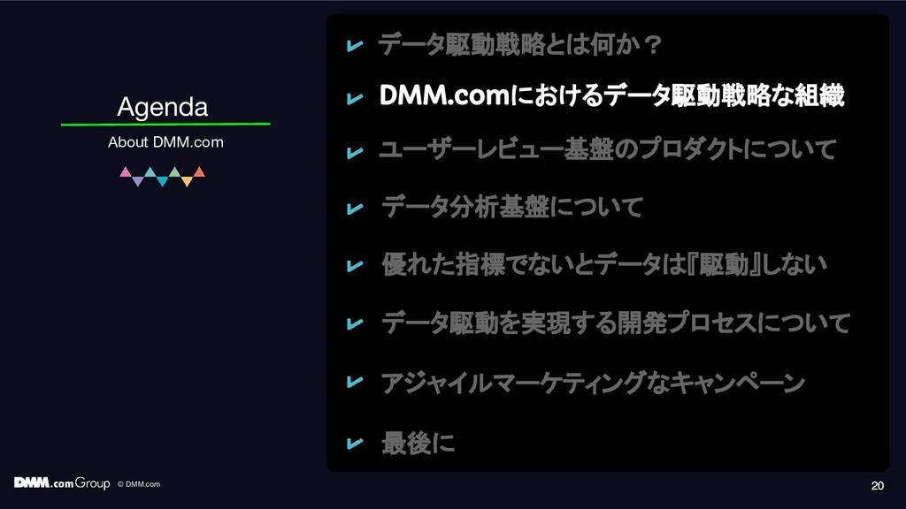 © DMM.com 20 Agenda About DMM.com 20 20 データ駆動戦略...