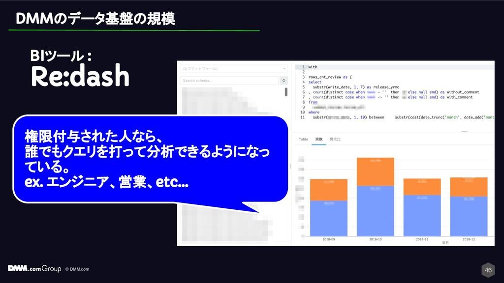 © DMM.com 46 DMMのデータ基盤の規模 BIツール : Re:dash 権限付与さ...
