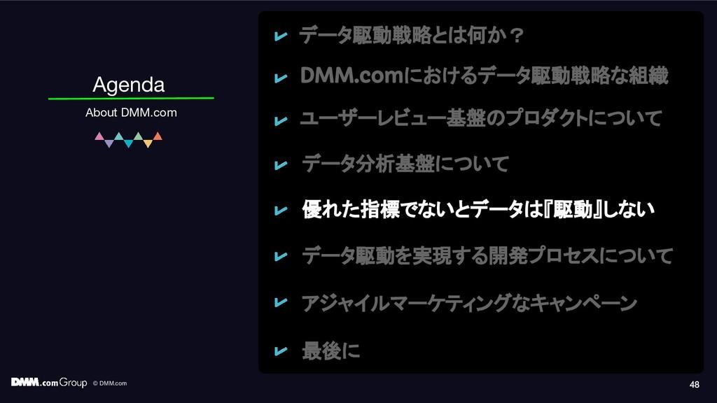 © DMM.com 48 Agenda About DMM.com 48 48 データ駆動戦略...