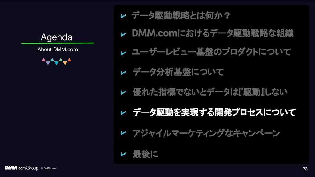 © DMM.com 73 Agenda About DMM.com 73 73 データ駆動戦略...