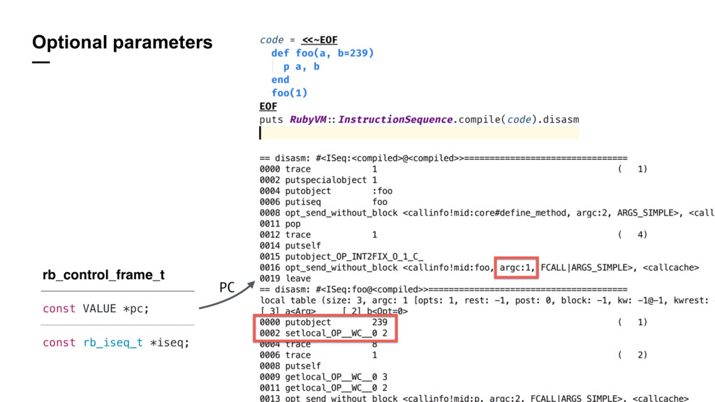 Optional parameters — rb_control_frame_t const ...