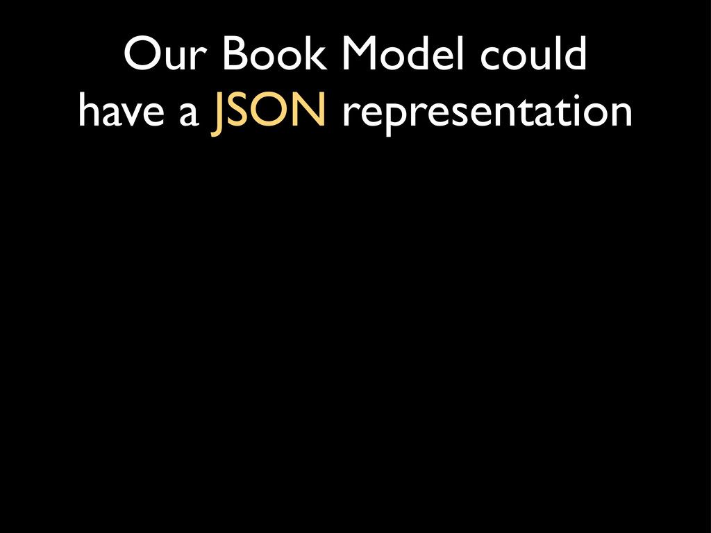 Our Book Model could have a JSON representation