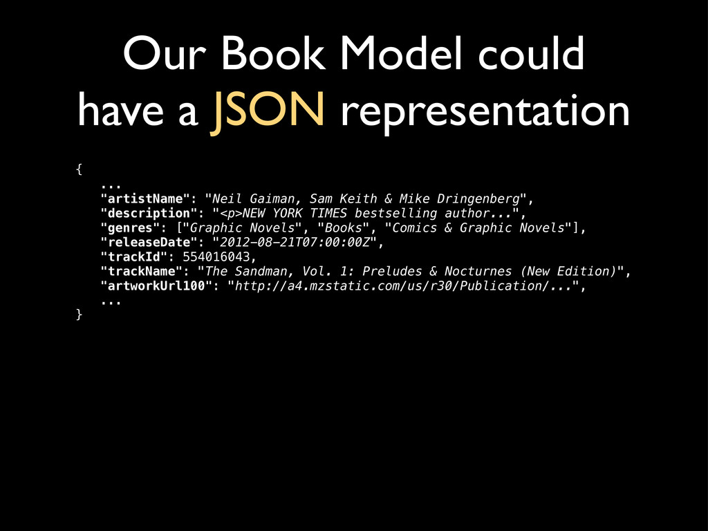 Our Book Model could have a JSON representation...