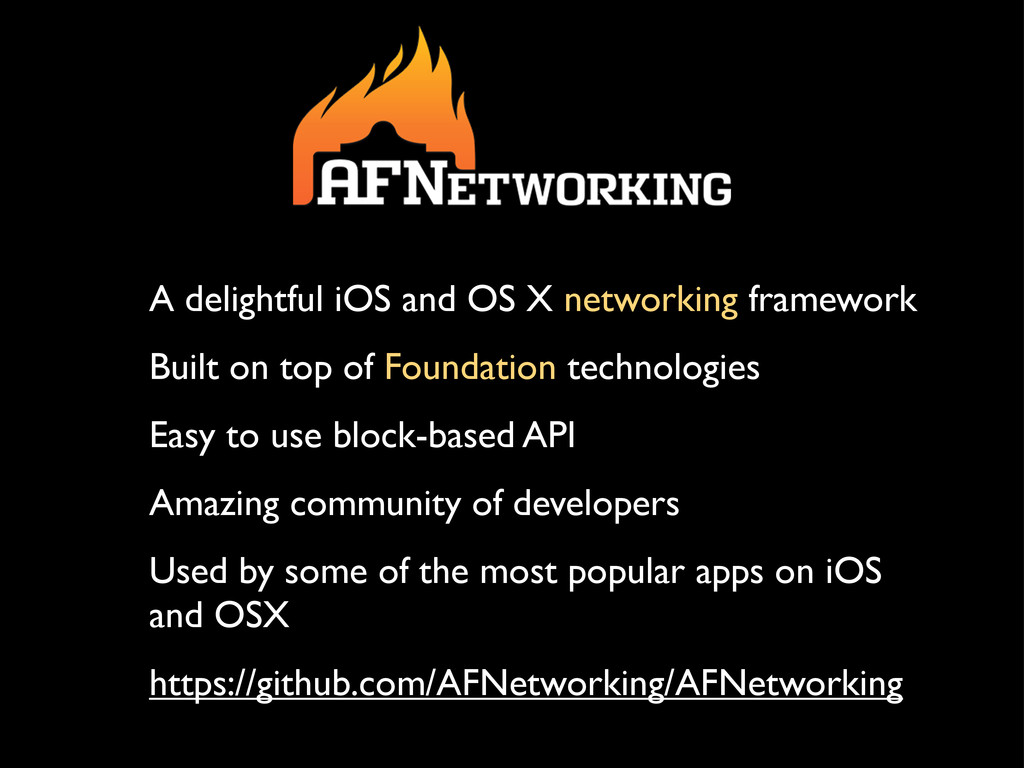 A delightful iOS and OS X networking framework ...