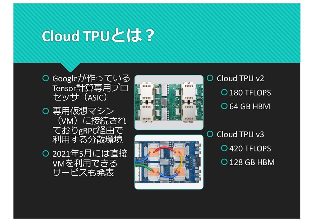 Cloud TPUとは︖ š Googleが作っている Tensor計算専⽤プロ セッサ(AS...