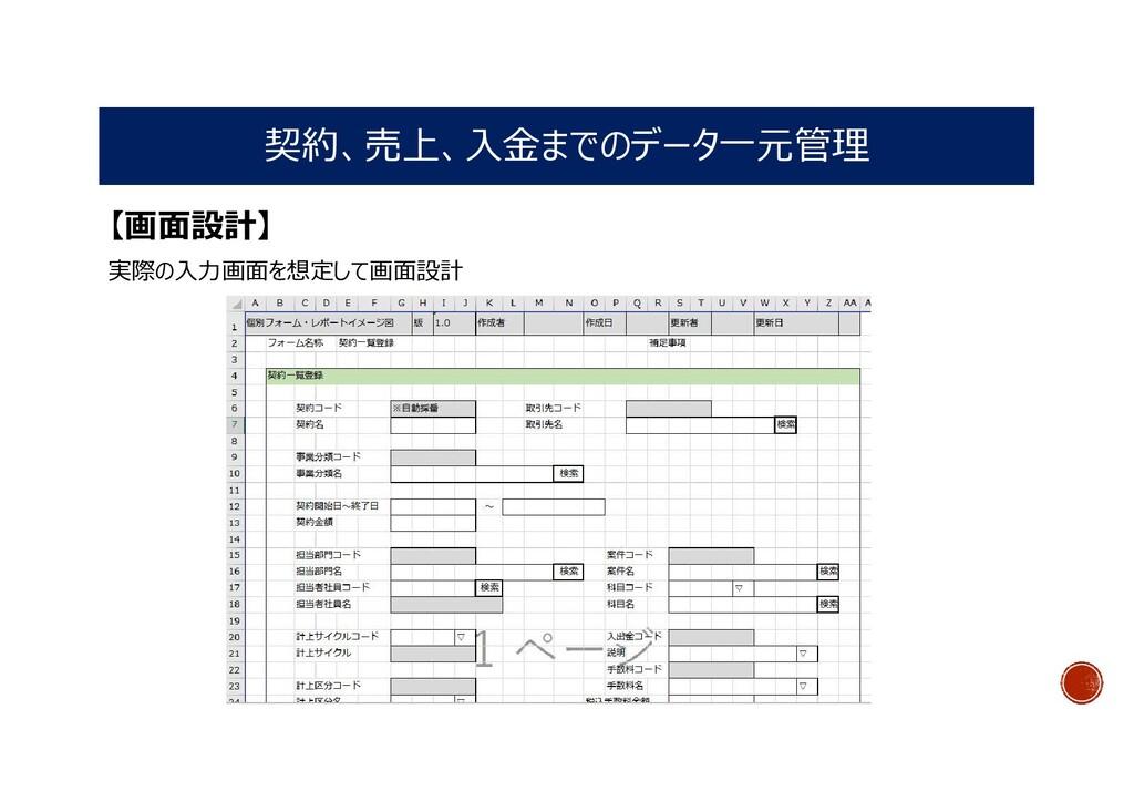 契約、売上、入金までのデータ一元管理 【画面設計】 実際の入力画面を想定して画面設計