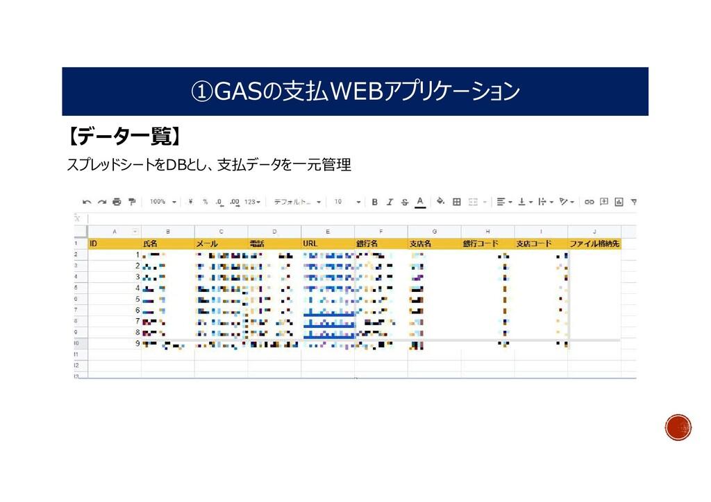 ①GASの支払WEBアプリケーション 【データ一覧】 スプレッドシートをDBとし、支払データを...