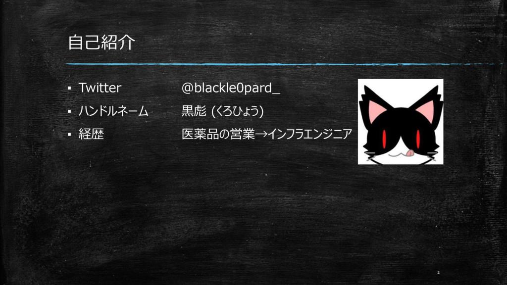 自己紹介 ▪ Twitter @blackle0pard_ ▪ ハンドルネーム 黒彪 (くろひ...
