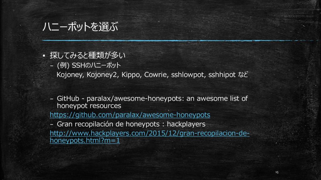 ハニーポットを選ぶ ▪ 探してみると種類が多い – (例) SSHのハニーポット Kojone...