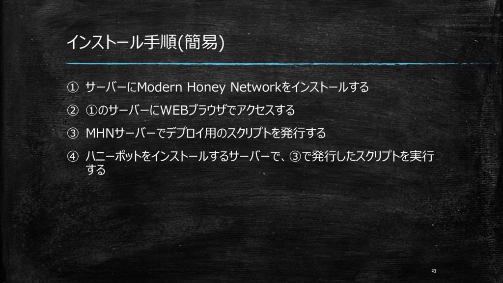 インストール手順(簡易) ① サーバーにModern Honey Networkをインストール...