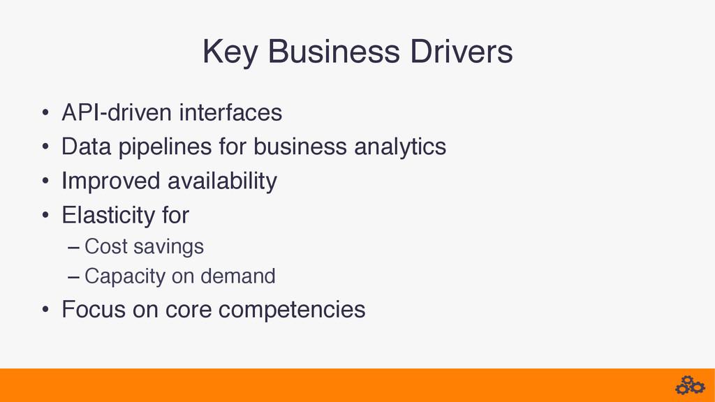 Key Business Drivers! • API-driven interfaces!...