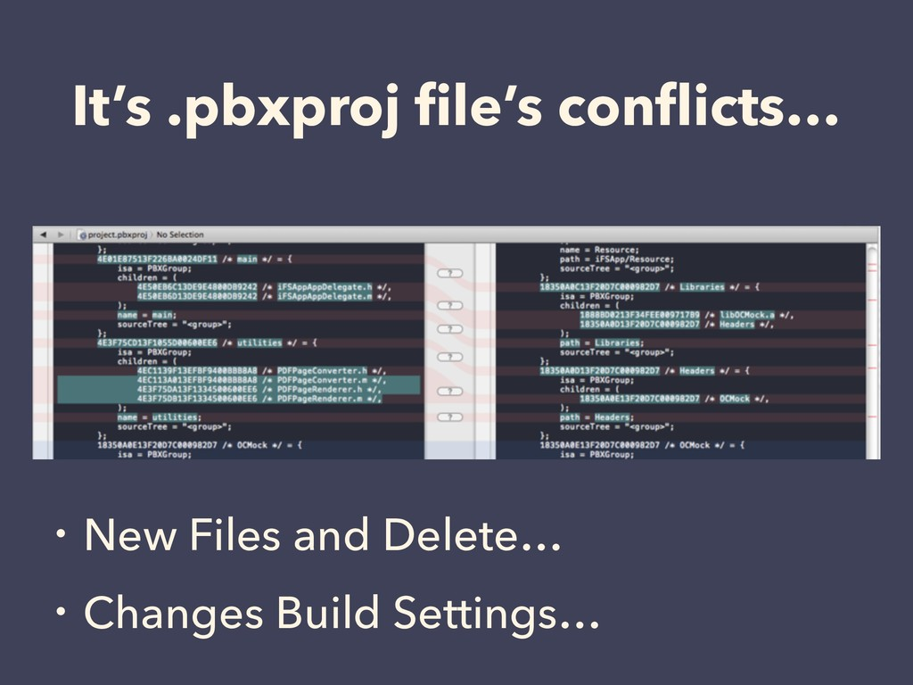 It's .pbxproj file's conflicts… ɾNew Files and De...