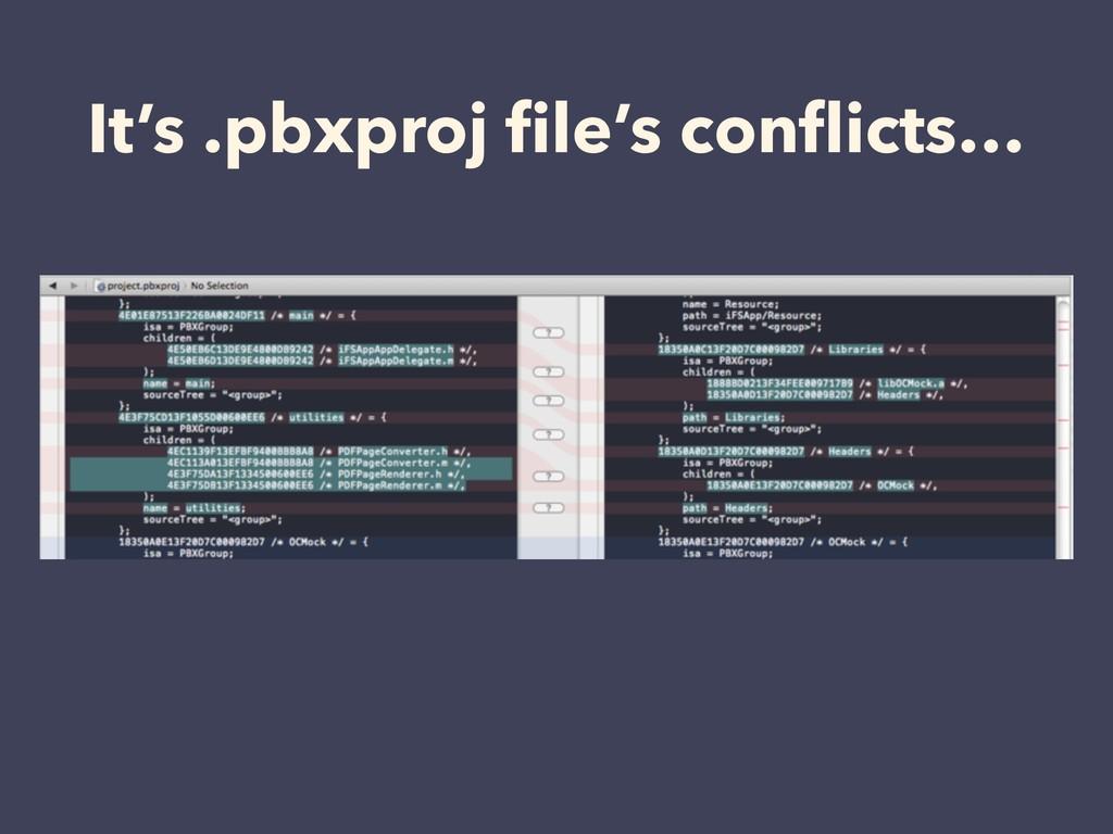 It's .pbxproj file's conflicts…