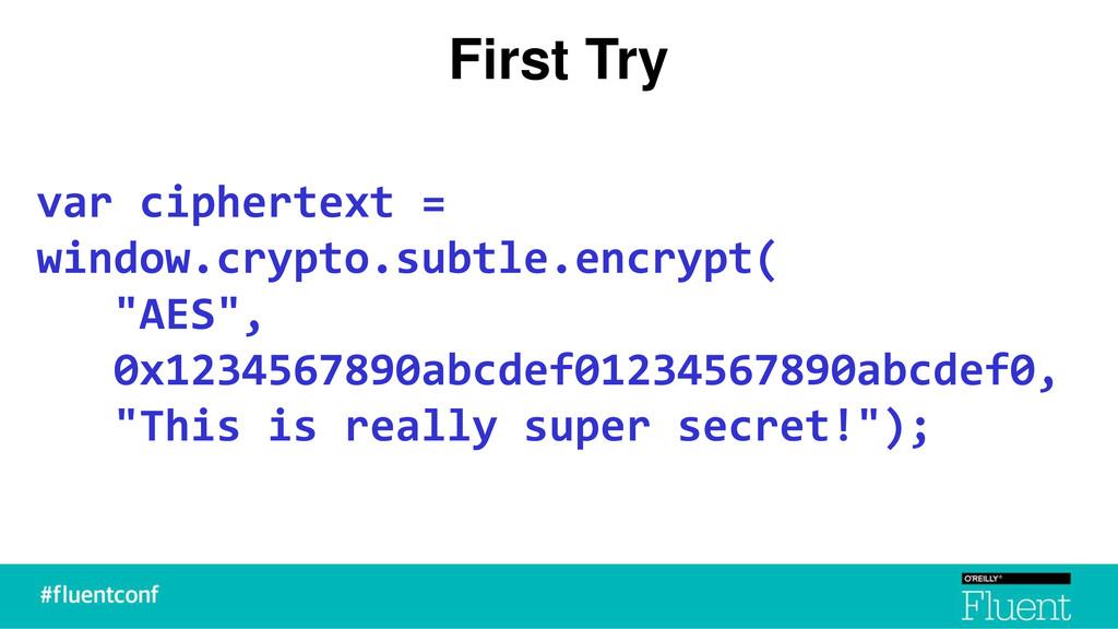 First Try var ciphertext = window.crypto.subtle...