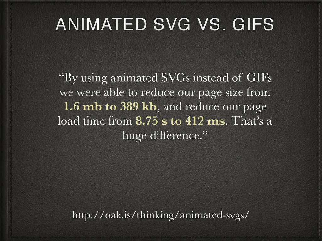 """ANIMATED SVG VS. GIFS """"By using animated SVGs i..."""
