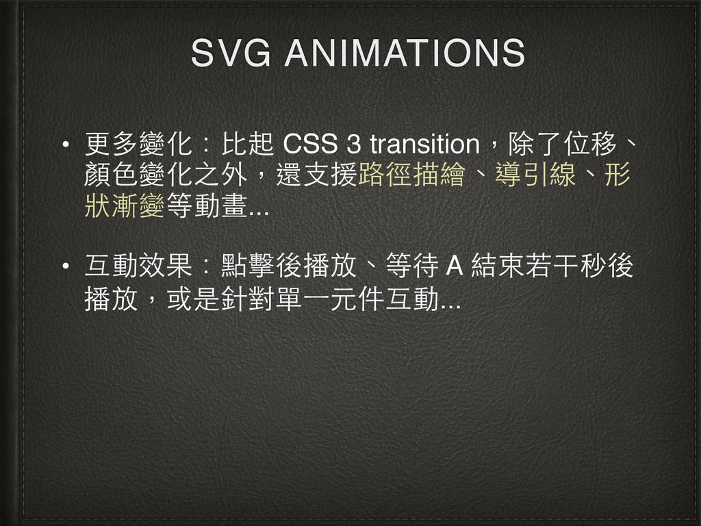 SVG ANIMATIONS • 更多變化:⽐比起 CSS 3 transition,除了位移...