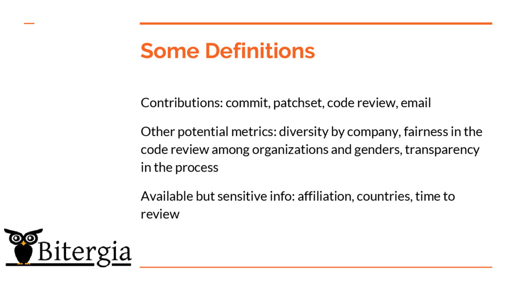 Some Definitions Contributions: commit, patchse...