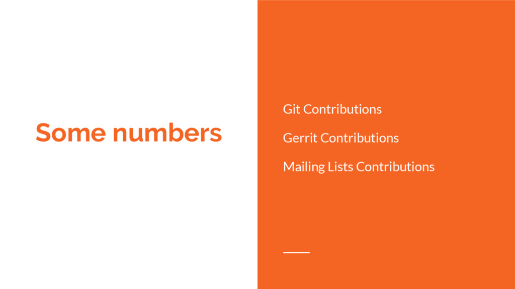 Some numbers Git Contributions Gerrit Contribut...