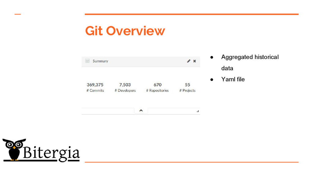 Git Overview ● Aggregated historical data ● Yam...