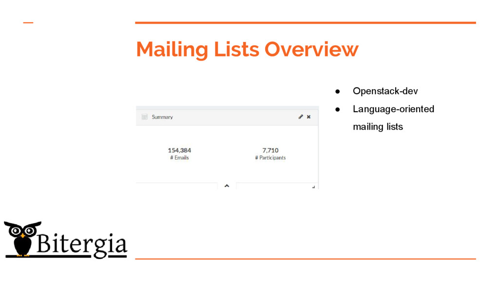 Mailing Lists Overview ● Openstack-dev ● Langua...