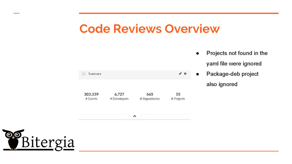 Code Reviews Overview ● Projects not found in t...