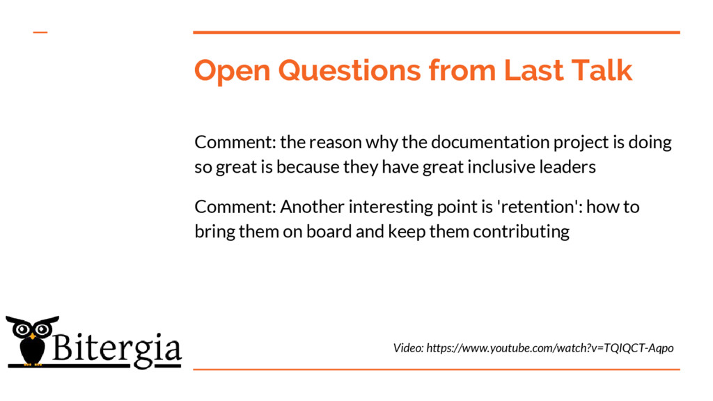 Open Questions from Last Talk Comment: the reas...