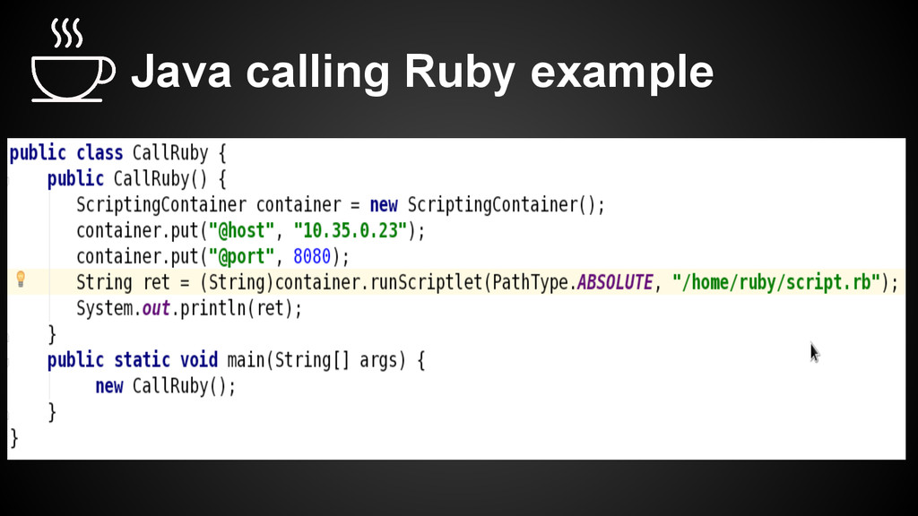 Java calling Ruby example